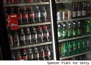 rows of soda in refrigerated section, proposed nyc soda ban for food stamp recipients
