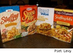 Assorted boxes of stuffing for Thanksgiving turkeys