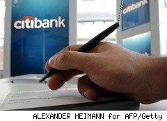 a clerk at Citibank writes something down