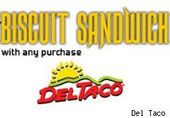 Biscuit sandwich fro Del Taco