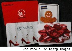 a variety of retail gift cards