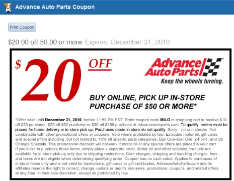 Advance Auto In Store Coupons >> Milo Adds Local Coupons To Searches For Products In Stock Aol Finance
