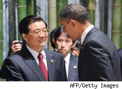 Chinese President Hu Jintao and President Barrack Obama