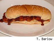 photo of homemade McRib sandwich