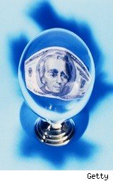 A crystal ball with cash inside - real estate predictions