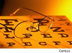 glasses on an eye chart
