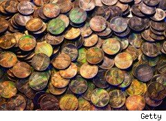 Pile of old pennies