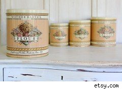 Old fashioned tin kitchen cannisters
