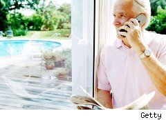 Retiree on a cell phone
