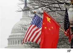 Chinese and U.S. flags