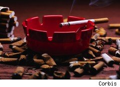 Cigarette ashtray and secondhand smoke