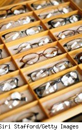 Eyeglasses in a display