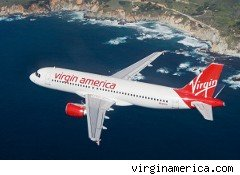 Virgin America jet in flight