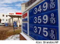 Gas station signs reflect rising oil prices