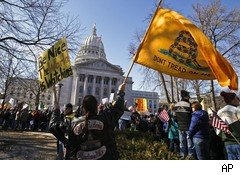 Antiunion protest in Wisconsin