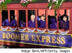Baby Boomers' float in the Rose Parade