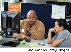 Tax preparer and client ready to e-file a return