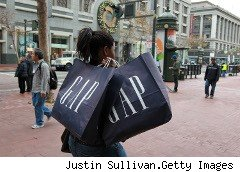 Shopper carrying Gap bags