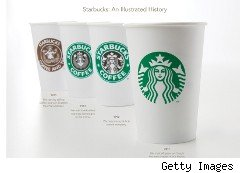 Starbucks cup showing new logo