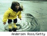 little girl in puddles - rain gear - what to buy in April