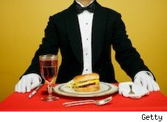 guy in tux with fast food - food prices