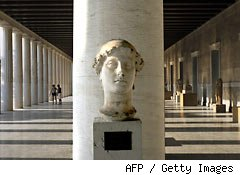 Stoa of Attalos, a gift from the King of Pergamon Attalos II, at the Ancient Agora, in Athens