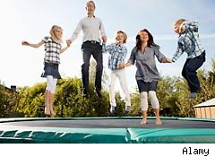 Summer fun on a trampoline