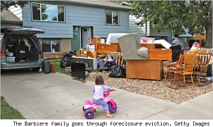The Barbiere family goes through foreclosure eviction. Getty Images