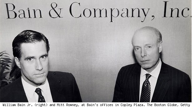 William Bain Jr. (right) and Mitt Romney, at Bain's offices in Copley Plaza. The Boston Globe, Getty