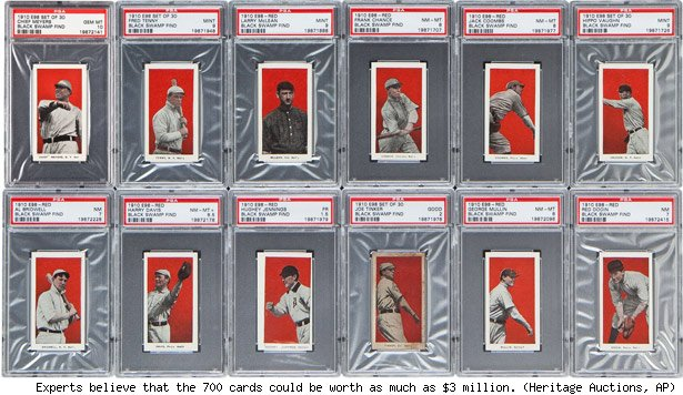 Experts believe that the 700 cards could be worth as much as $3 million. (Heritage Auctions, AP)