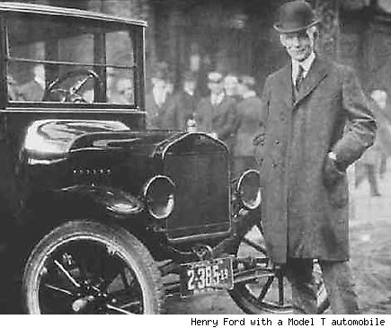 Henry Ford with a Model T automobile