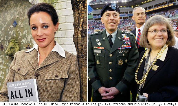 (L) Paula Broadwell led CIA Head David Petraeus to resign. (R) Petraeus and his wife, Holly. (Getty)