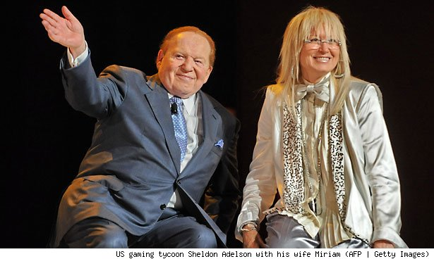 US gaming tycoon Sheldon Adelson with his wife Miriam (AFP | Getty Images)
