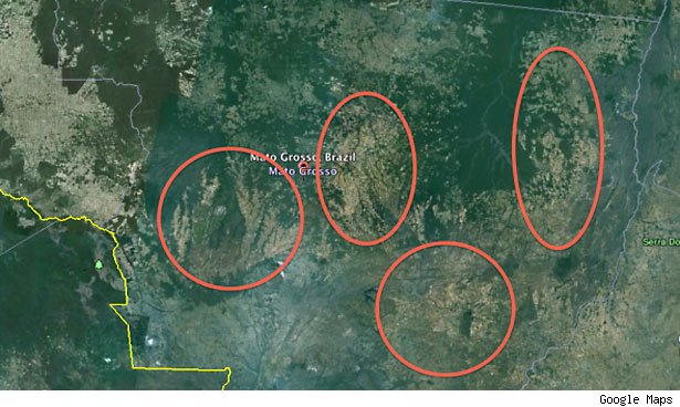 Mato Grosso is comprised four large clusters of farms.