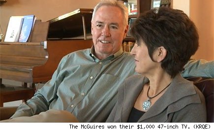 The McGuires won their $1,000 47-inch TV. (KRQE)