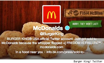 Burger King/ Twitter McDonald's hack
