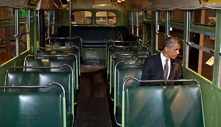 US President Barack Obama sits on the famed Rosa Parks bus at the Henry Ford Museum in Dearborn, Michigan.  (Photo by Pete Souza/White House Photo via Getty Images)