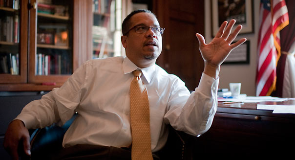 UNITED STATES - NOVEMBER 30: Rep. Keith Ellison, D-Minn., is interviewed in his Longworth office about his Muslim faith. (Photo By Tom Williams/CQ Roll Call)