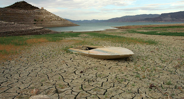 Drought and increased water demand spurred by explosive population growth in the Southwest has caused the water level at Lake Mead, which supplies water to Las Vegas, Arizona and Southern California, to drop. (Photo by Ethan Miller/Getty Images)