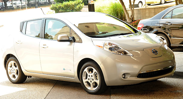 NASHVILLE, TN - JUNE 07:  The all new 100% electric Nissan LEAF at the Loews Vanderbilt Hotel on June 7, 2011 in Nashville, Tennessee.  (Photo by Rick Diamond/Getty Images for NPG)
