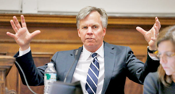 Ron Johnson, chief executive officer of J.C. Penney Co., testifies at State Supreme court in New York, U.S., on Friday, March 1, 2013. Johnson took the witness stand to testify in a dispute between his department-store chain and Macy?s Inc. over the right to sell Martha Stewart Living Omnimedia Inc. merchandise. Photographer: Thomas Iannaccone/Pool via Bloomberg