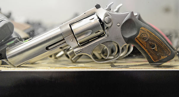 LOS ANGELES, CA - DECEMBER 07:  A Smith & Wesson .357 magnum revolver is displayed for customers to rent at the Los Angeles Gun Club on December 7, 2012 in Los Angeles, California.  Gun enthusiasts rent the the weapon to try out before making a purchase at a gun store . Leading firearms maker Smith & Wesson reports almost 50 percent increase in sales revenue.  (Photo by Kevork Djansezian/Getty Images)