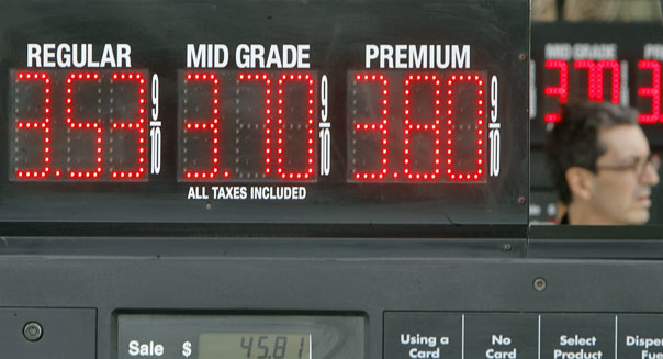 gas prices on display at a station in Montpelier, Vt.
