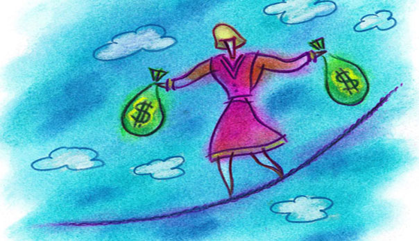 woman money tightrope
