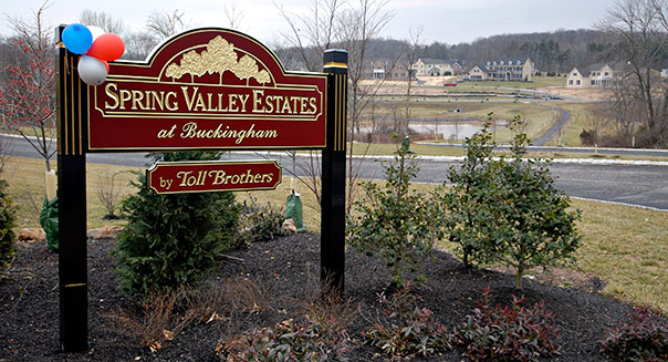 A sign overlooks the Toll Brothers' Spring Valley Estates in Buckingham, Pennsylvania, February 4, 2008. Photographer: Mike Mergen/Bloomberg News.