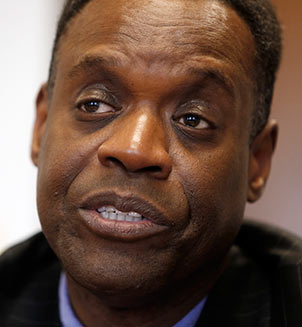 Kevyn Orr, Detroit emergency financial manager, responds to a reporters question while being interviewed on Wednesday, March 20, 2013, in Detroit. The newly appointed emergency manager charged with getting Detroit's finances back on track is welcoming input from city officials as he begins his job next week. (AP Photo/Duane Burleson)