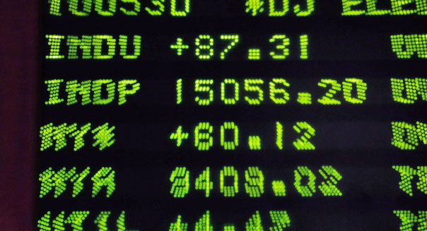 dow jones industrial average electronic board wall street trading floor