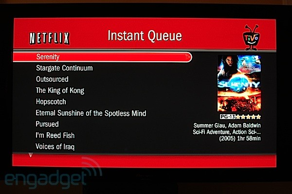TiVo Netflix interface