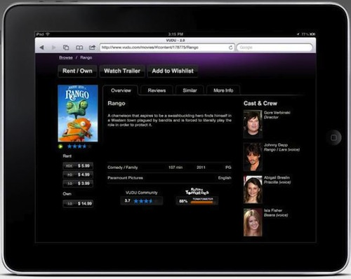 Vudu starts streaming movies to the iPad, chooses the web