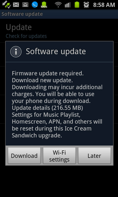 samsung galaxy s II android 4.0 update